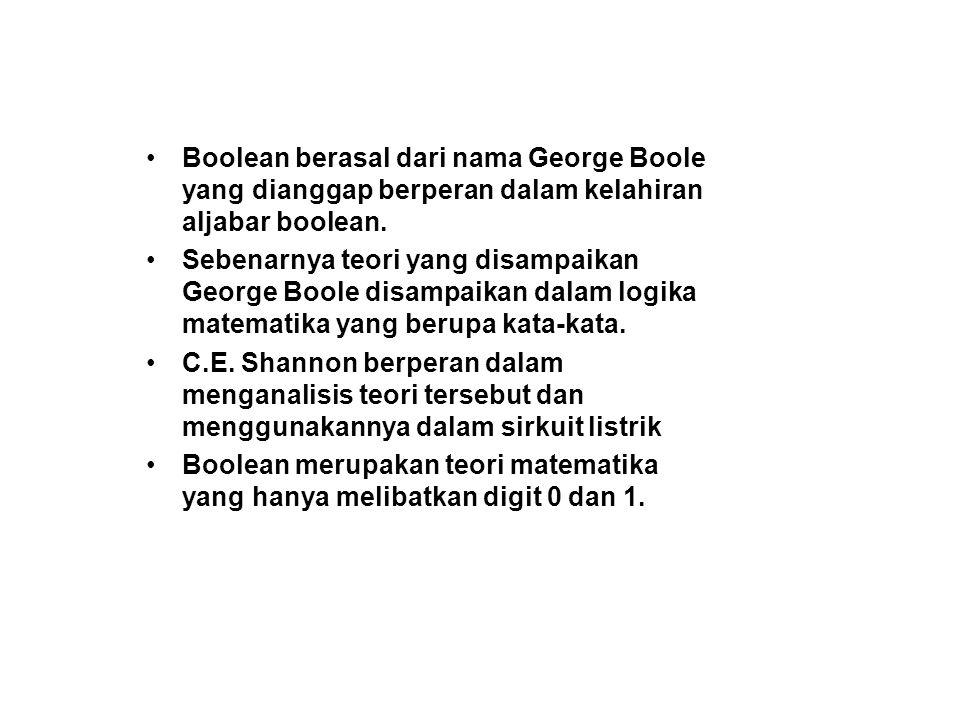 Boolean berasal dari nama George Boole yang dianggap berperan dalam kelahiran aljabar boolean. Sebenarnya teori yang disampaikan George Boole disampai