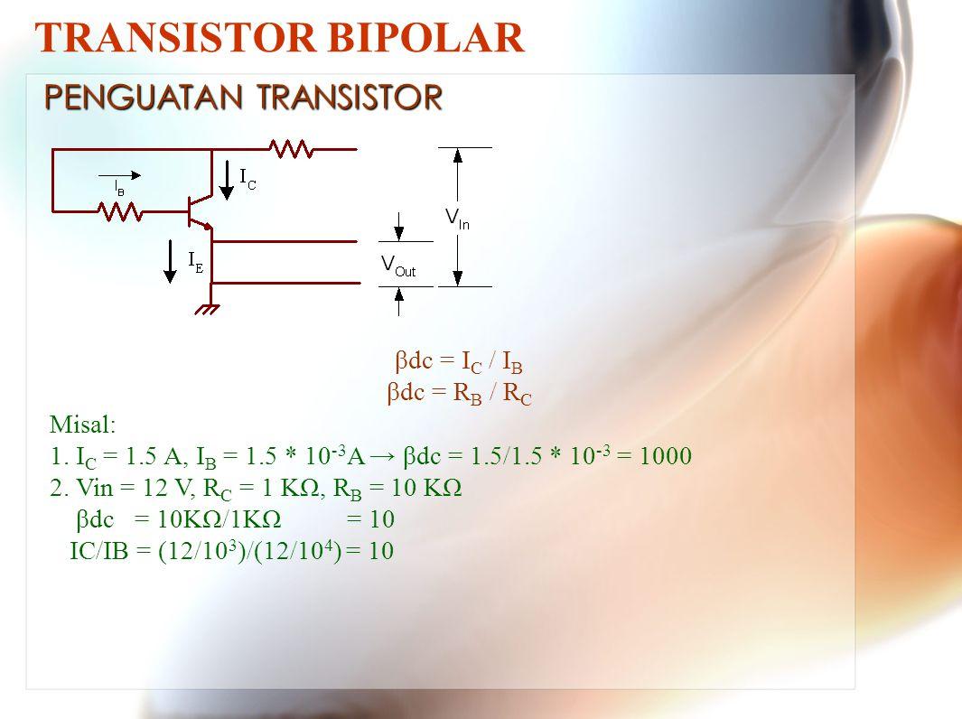 TRANSISTOR BIPOLAR βdc = I C / I B βdc = R B / R C Misal: 1.