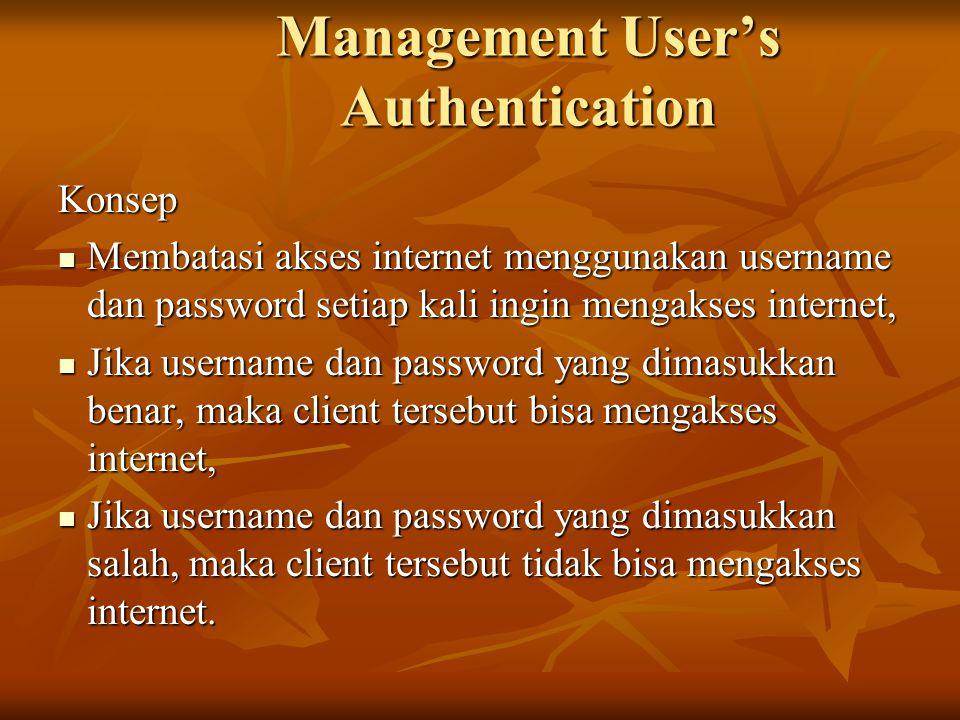 Management User's Authentication Konsep Membatasi akses internet menggunakan username dan password setiap kali ingin mengakses internet, Membatasi aks