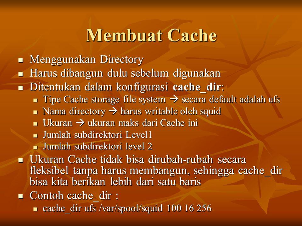Membuat Cache Menggunakan Directory Menggunakan Directory Harus dibangun dulu sebelum digunakan Harus dibangun dulu sebelum digunakan Ditentukan dalam