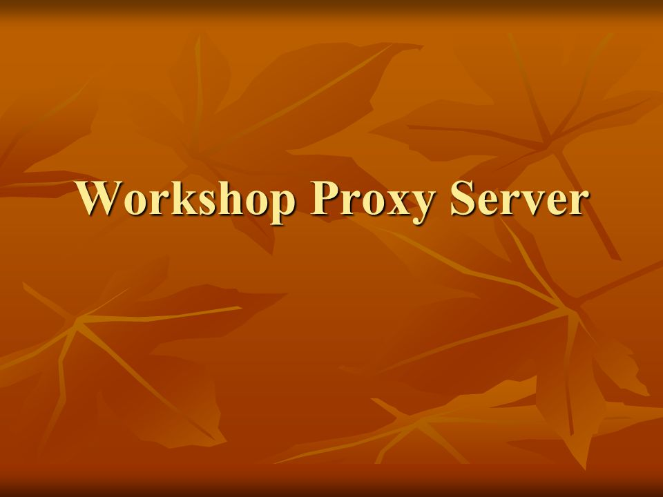 Workshop Proxy Server