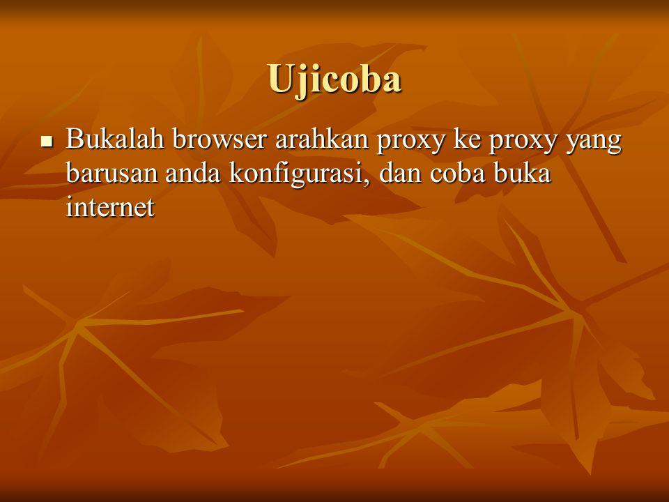 Ujicoba Bukalah browser arahkan proxy ke proxy yang barusan anda konfigurasi, dan coba buka internet Bukalah browser arahkan proxy ke proxy yang barus