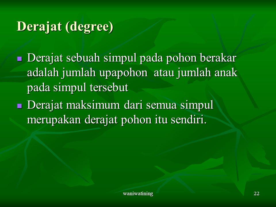 waniwatining22 Derajat (degree) Derajat sebuah simpul pada pohon berakar adalah jumlah upapohon atau jumlah anak pada simpul tersebut Derajat sebuah s