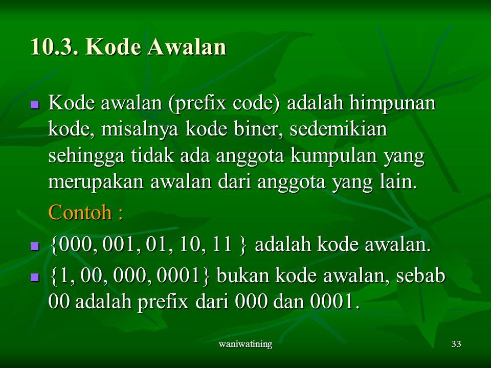 waniwatining33 10.3. Kode Awalan Kode awalan (prefix code) adalah himpunan kode, misalnya kode biner, sedemikian sehingga tidak ada anggota kumpulan y