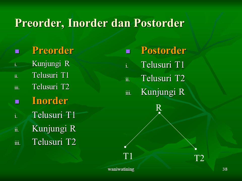 waniwatining38 Preorder, Inorder dan Postorder Preorder Preorder i. Kunjungi R ii. Telusuri T1 iii. Telusuri T2 Inorder Inorder i. Telusuri T1 ii. Kun