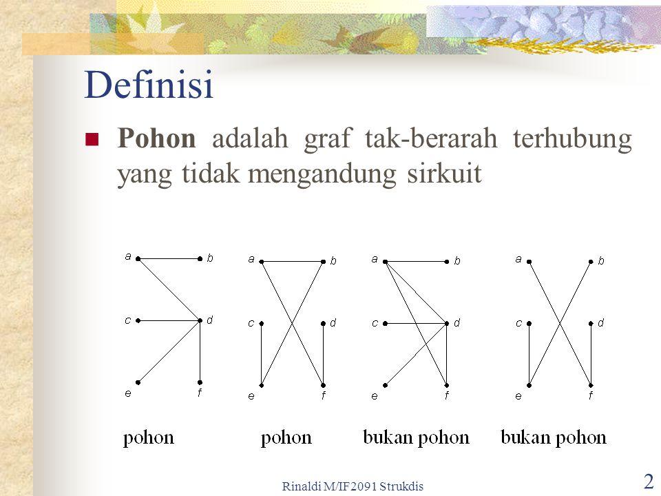 Rinaldi M/IF2091 Strukdis 2 Definisi Pohon adalah graf tak-berarah terhubung yang tidak mengandung sirkuit