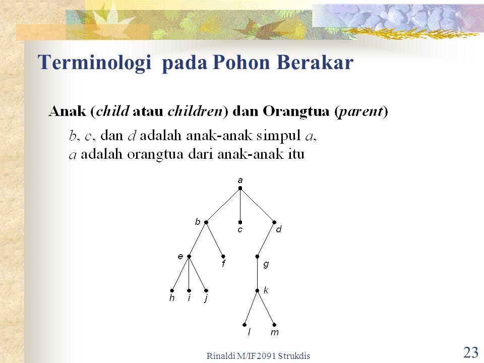 Rinaldi M/IF2091 Strukdis 23 Terminologi pada Pohon Berakar