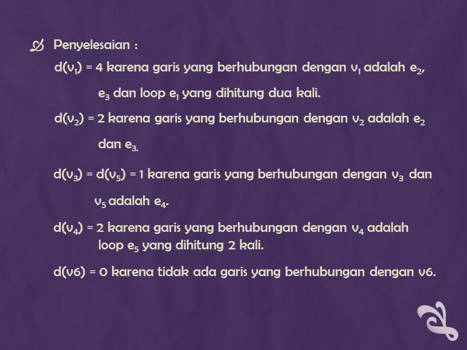  Penyelesaian : d(v 1 ) = 4 karena garis yang berhubungan dengan v 1 adalah e 2, e 3 dan loop e 1 yang dihitung dua kali. d(v 2 ) = 2 karena garis ya