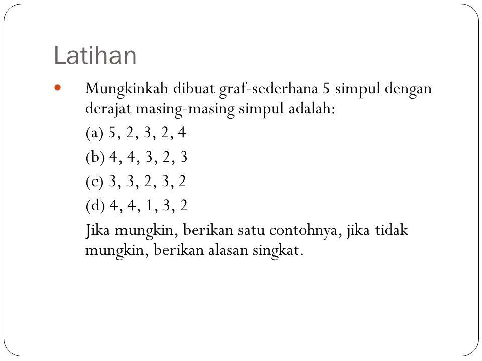Latihan 24 Mungkinkah dibuat graf-sederhana 5 simpul dengan derajat masing-masing simpul adalah: (a) 5, 2, 3, 2, 4 (b) 4, 4, 3, 2, 3 (c) 3, 3, 2, 3, 2