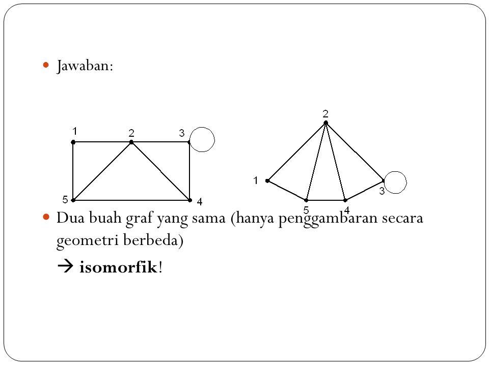 49 Jawaban: Dua buah graf yang sama (hanya penggambaran secara geometri berbeda)  isomorfik!