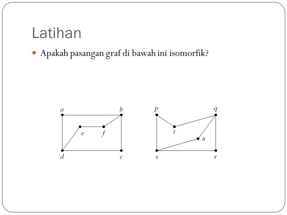 Latihan 56 Apakah pasangan graf di bawah ini isomorfik?