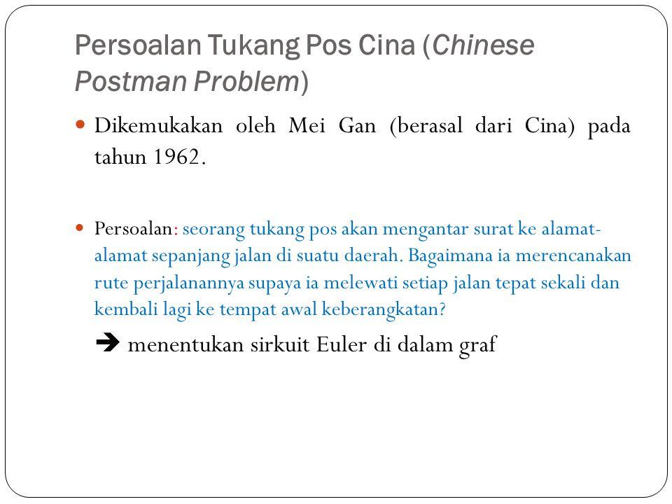 Persoalan Tukang Pos Cina (Chinese Postman Problem) 74 Dikemukakan oleh Mei Gan (berasal dari Cina) pada tahun 1962. Persoalan: seorang tukang pos aka
