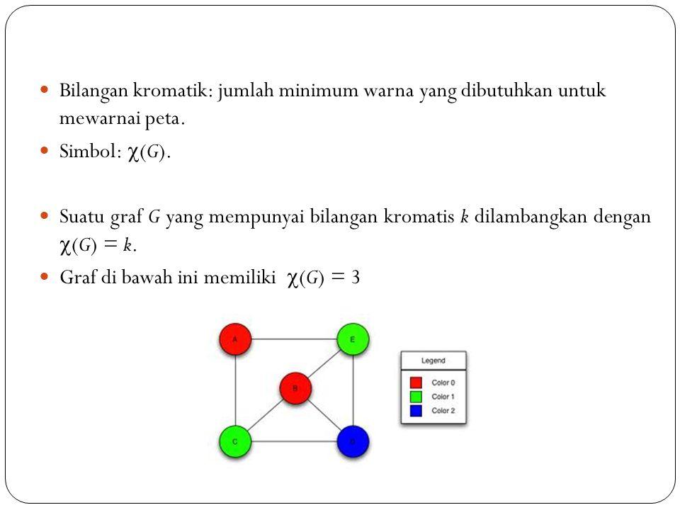 84 Bilangan kromatik: jumlah minimum warna yang dibutuhkan untuk mewarnai peta. Simbol:  (G). Suatu graf G yang mempunyai bilangan kromatis k dilamba