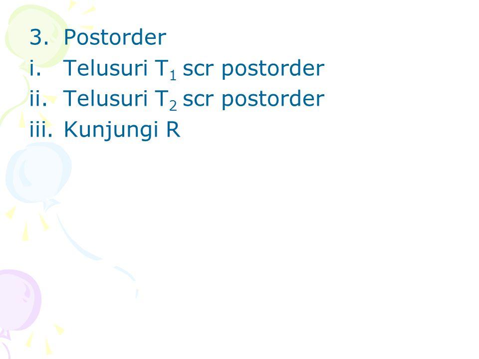 3.Postorder i.Telusuri T 1 scr postorder ii.Telusuri T 2 scr postorder iii.Kunjungi R