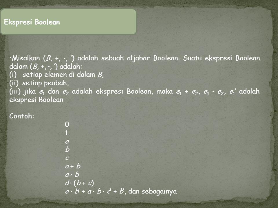 Misalkan (B, +, , ') adalah sebuah aljabar Boolean. Suatu ekspresi Boolean dalam (B, +, , ') adalah: (i) setiap elemen di dalam B, (ii) setiap peuba