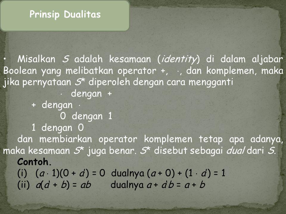 Prinsip Dualitas Misalkan S adalah kesamaan (identity) di dalam aljabar Boolean yang melibatkan operator +, , dan komplemen, maka jika pernyataan S*