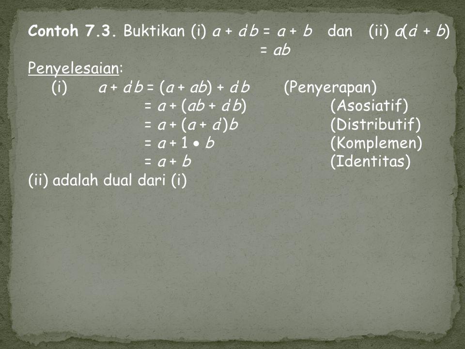 Contoh 7.3. Buktikan (i) a + a'b = a + b dan (ii) a(a' + b) = ab Penyelesaian: (i) a + a'b = (a + ab) + a'b(Penyerapan) = a + (ab + a'b)(Asosiatif) =