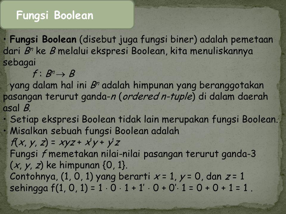 Fungsi Boolean Fungsi Boolean (disebut juga fungsi biner) adalah pemetaan dari B n ke B melalui ekspresi Boolean, kita menuliskannya sebagai f : B n 