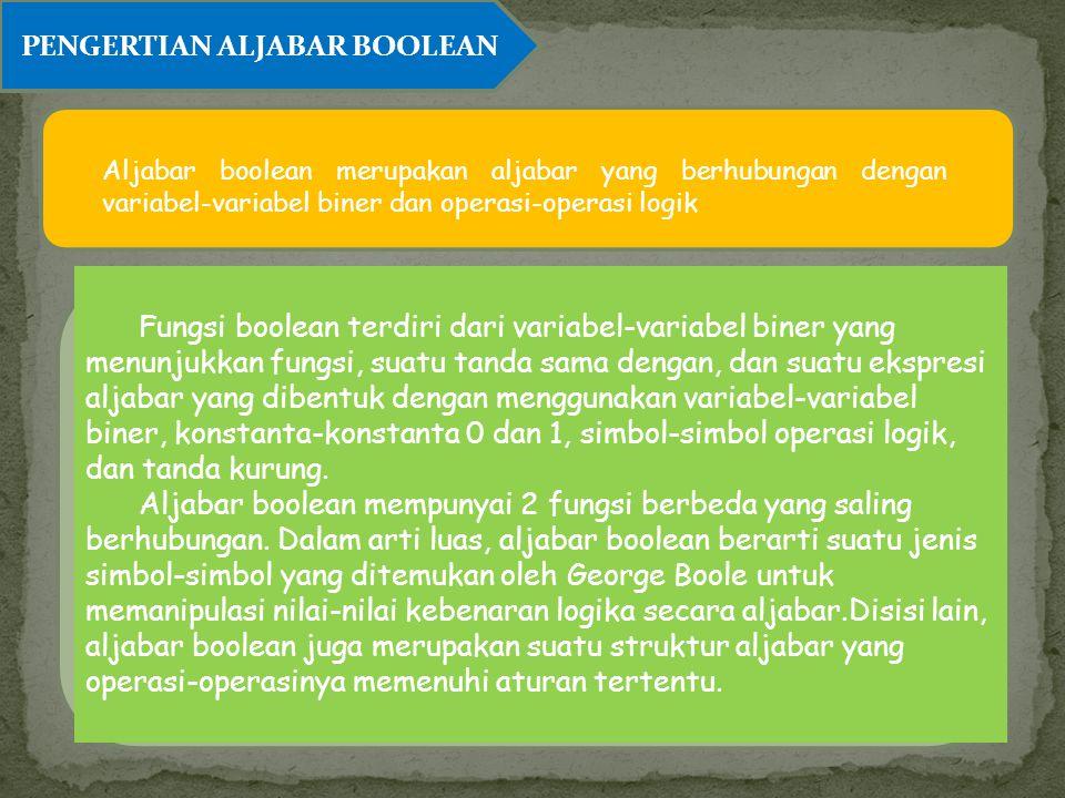 PENGERTIAN ALJABAR BOOLEAN Aljabar boolean merupakan aljabar yang berhubungan dengan variabel-variabel biner dan operasi-operasi logik Fungsi boolean
