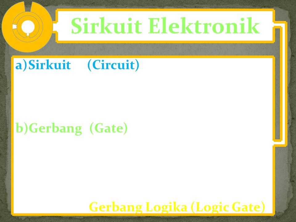 Sirkuit Elektronik a)Sirkuit (Circuit) adalah sejumlah rangkaian; sirkuit menerima masukan dan keluaran berupa pulsa-pulsa listrik yang dipandang seba