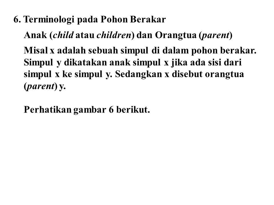 6. Terminologi pada Pohon Berakar Anak (child atau children) dan Orangtua (parent) Misal x adalah sebuah simpul di dalam pohon berakar. Simpul y dikat