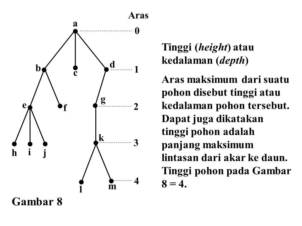 Tinggi (height) atau kedalaman (depth) Aras maksimum dari suatu pohon disebut tinggi atau kedalaman pohon tersebut. Dapat juga dikatakan tinggi pohon