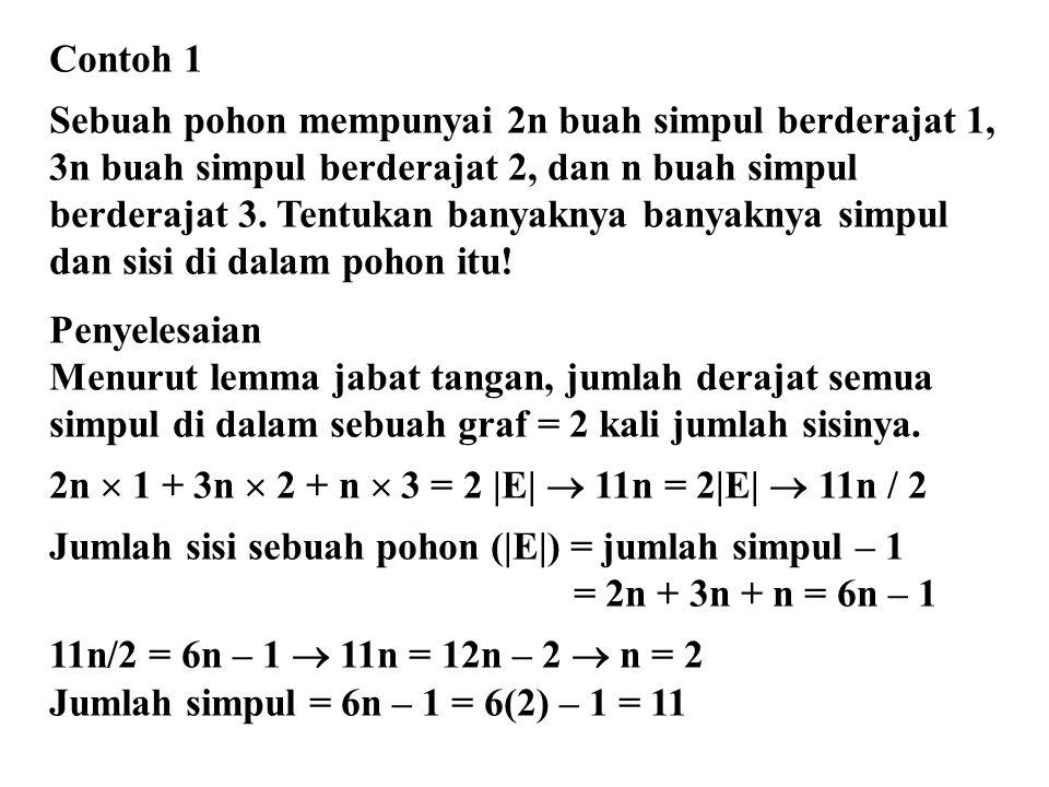 Contoh 1 Sebuah pohon mempunyai 2n buah simpul berderajat 1, 3n buah simpul berderajat 2, dan n buah simpul berderajat 3. Tentukan banyaknya banyaknya