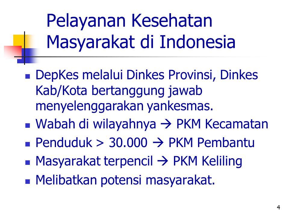 4 Pelayanan Kesehatan Masyarakat di Indonesia DepKes melalui Dinkes Provinsi, Dinkes Kab/Kota bertanggung jawab menyelenggarakan yankesmas. Wabah di w