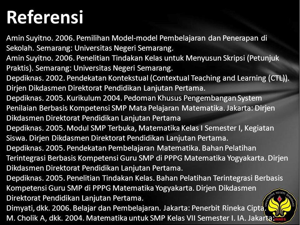Referensi Amin Suyitno. 2006. Pemilihan Model-model Pembelajaran dan Penerapan di Sekolah. Semarang: Universitas Negeri Semarang. Amin Suyitno. 2006.