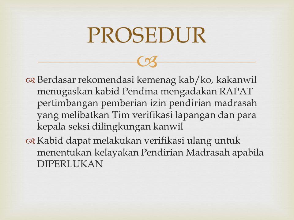   Berdasar rekomendasi kemenag kab/ko, kakanwil menugaskan kabid Pendma mengadakan RAPAT pertimbangan pemberian izin pendirian madrasah yang melibat