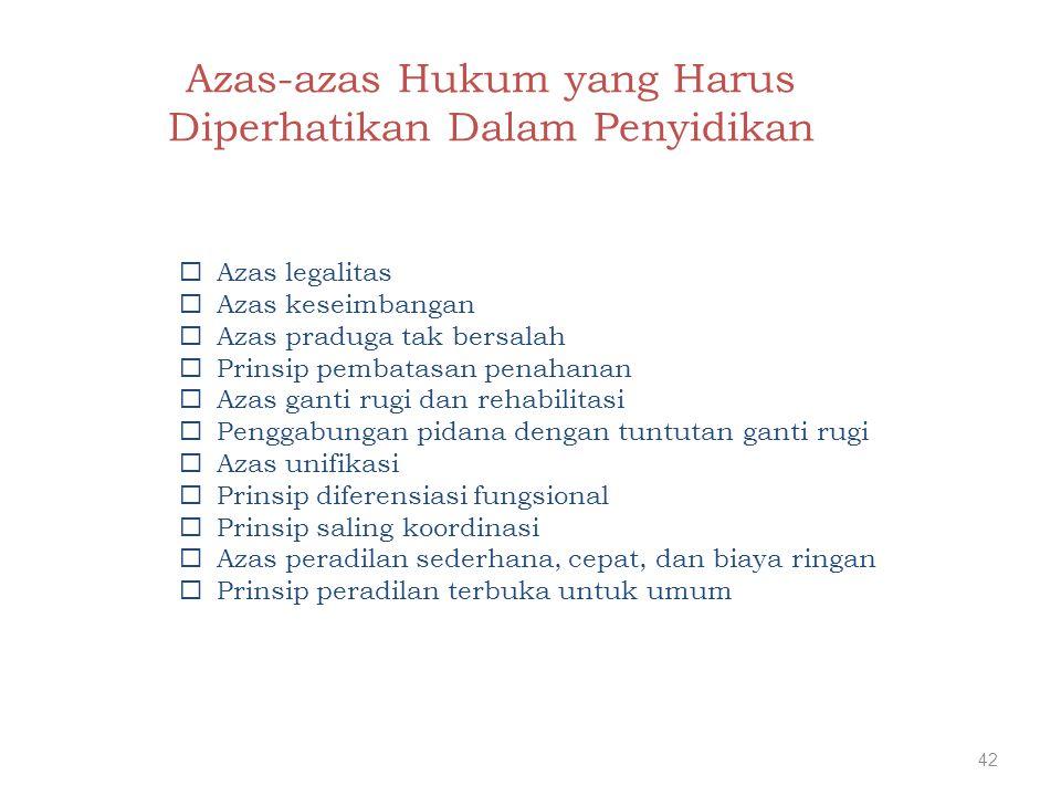 Azas-azas Hukum yang Harus Diperhatikan Dalam Penyidikan  Azas legalitas  Azas keseimbangan  Azas praduga tak bersalah  Prinsip pembatasan penahan