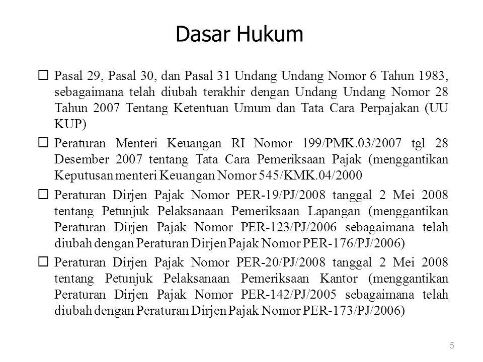 Pasal 29 UU KUP (1)Direktur Jenderal Pajak berwenang melakukan pemeriksaan untuk menguji kepatuhan pemenuhan kewajiban perpajakan Wajib Pajak dan untuk tujuan lain dalam rangka melaksanakan ketentuan peraturan perundang-undangan perpajakan.