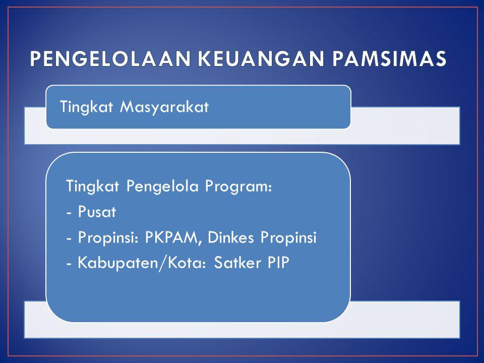Tingkat Masyarakat Tingkat Pengelola Program: - Pusat - Propinsi: PKPAM, Dinkes Propinsi - Kabupaten/Kota: Satker PIP