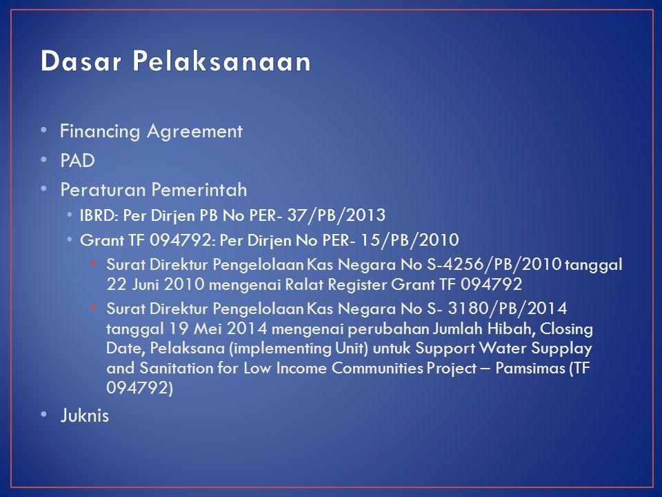 Financing Agreement PAD Peraturan Pemerintah IBRD: Per Dirjen PB No PER- 37/PB/2013 Grant TF 094792: Per Dirjen No PER- 15/PB/2010 Surat Direktur Pengelolaan Kas Negara No S-4256/PB/2010 tanggal 22 Juni 2010 mengenai Ralat Register Grant TF 094792 Surat Direktur Pengelolaan Kas Negara No S- 3180/PB/2014 tanggal 19 Mei 2014 mengenai perubahan Jumlah Hibah, Closing Date, Pelaksana (implementing Unit) untuk Support Water Supplay and Sanitation for Low Income Communities Project – Pamsimas (TF 094792) Juknis