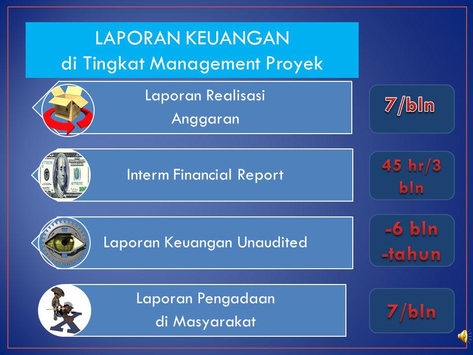 Laporan Realisasi Anggaran Interm Financial Report Laporan Keuangan Unaudited Laporan Pengadaan di Masyarakat LAPORAN KEUANGAN di Tingkat Management Proyek