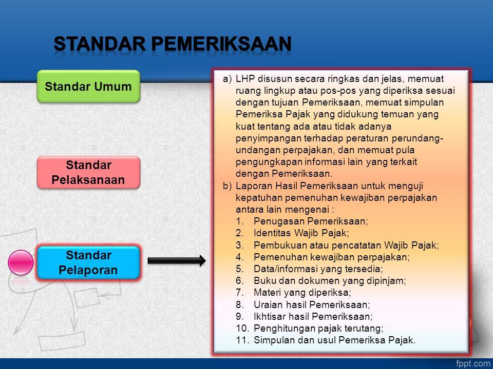 Standar Pelaporan Standar Pelaksanaan Standar Umum a)LHP disusun secara ringkas dan jelas, memuat ruang lingkup atau pos-pos yang diperiksa sesuai den