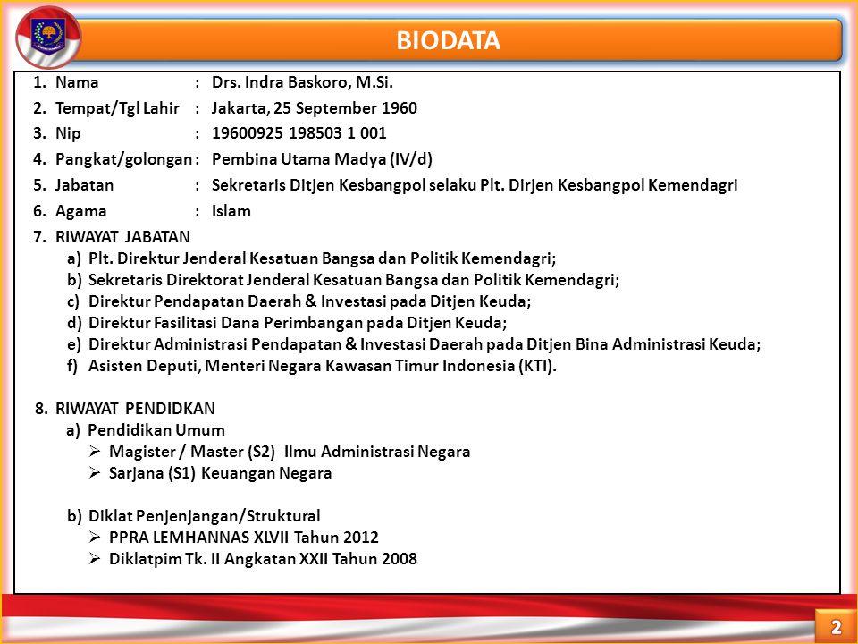 BIODATA 1.Nama : Drs. Indra Baskoro, M.Si. 2.Tempat/Tgl Lahir: Jakarta, 25 September 1960 3.Nip: 19600925 198503 1 001 4.Pangkat/golongan: Pembina Uta