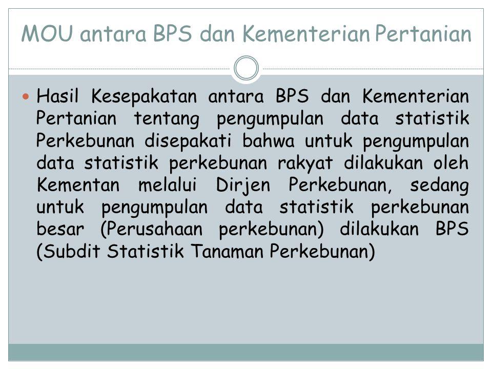 MOU antara BPS dan Kementerian Pertanian Hasil Kesepakatan antara BPS dan Kementerian Pertanian tentang pengumpulan data statistik Perkebunan disepakati bahwa untuk pengumpulan data statistik perkebunan rakyat dilakukan oleh Kementan melalui Dirjen Perkebunan, sedang untuk pengumpulan data statistik perkebunan besar (Perusahaan perkebunan) dilakukan BPS (Subdit Statistik Tanaman Perkebunan)