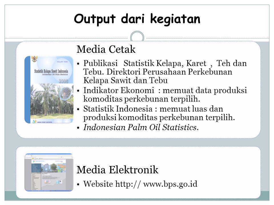 Output dari kegiatan Media Cetak Publikasi Statistik Kelapa, Karet, Teh dan Tebu.