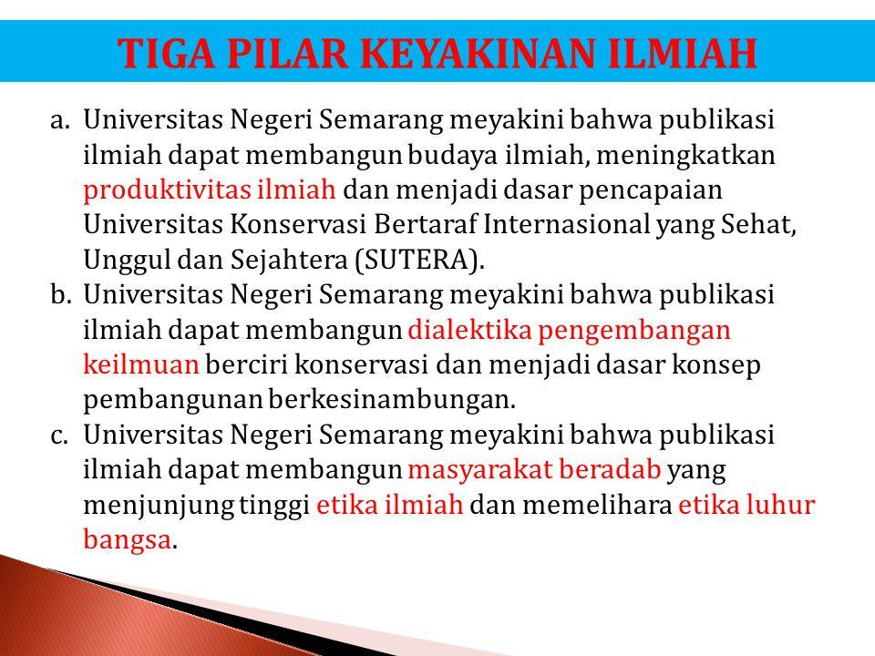 TIGA PILAR KEYAKINAN ILMIAH a.Universitas Negeri Semarang meyakini bahwa publikasi ilmiah dapat membangun budaya ilmiah, meningkatkan produktivitas il