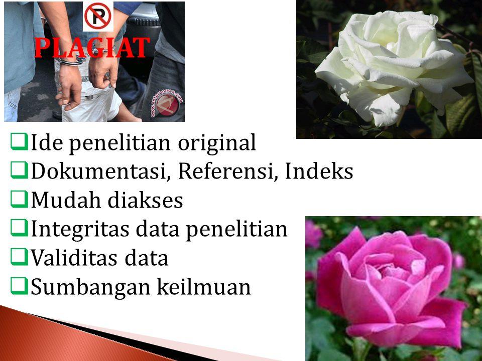 PLAGIAT  Ide penelitian original  Dokumentasi, Referensi, Indeks  Mudah diakses  Integritas data penelitian  Validitas data  Sumbangan keilmuan