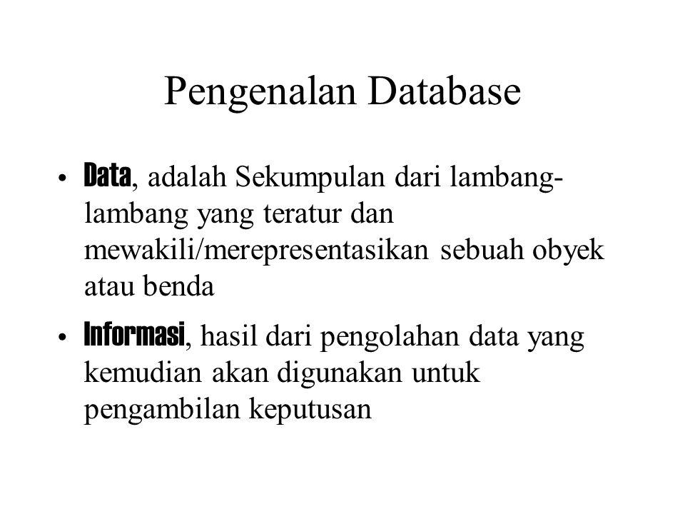 Pengenalan Database Data, adalah Sekumpulan dari lambang- lambang yang teratur dan mewakili/merepresentasikan sebuah obyek atau benda Informasi, hasil