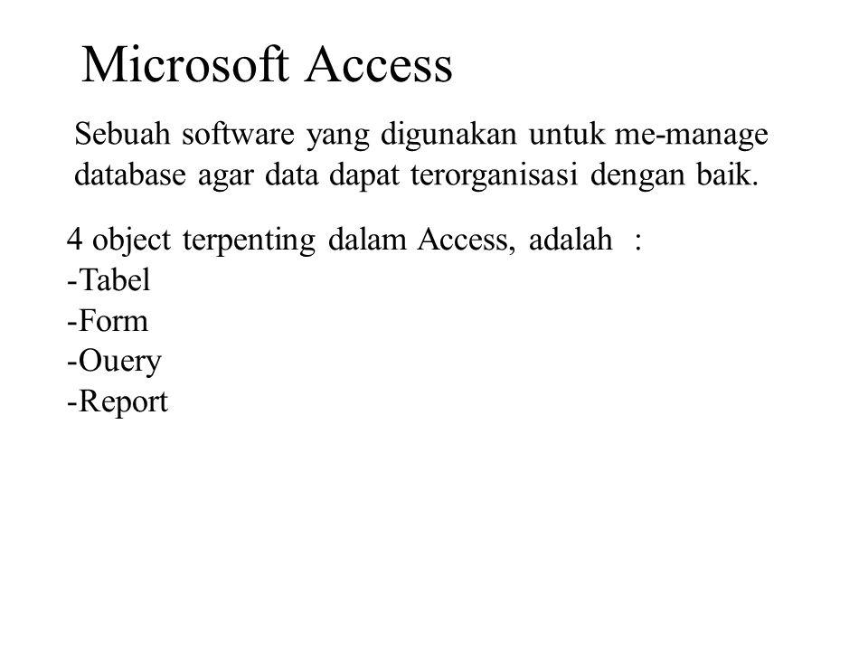 Microsoft Access Sebuah software yang digunakan untuk me-manage database agar data dapat terorganisasi dengan baik. 4 object terpenting dalam Access,
