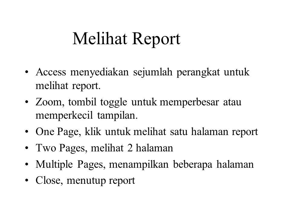 Melihat Report Access menyediakan sejumlah perangkat untuk melihat report. Zoom, tombil toggle untuk memperbesar atau memperkecil tampilan. One Page,