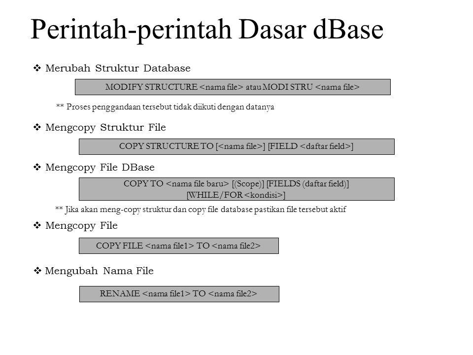  Menghapus File DELETE FILE ** Dalam proses copy file, rename & delete file ini harus jelas extensionnya, karena proses tersebut tidak hanya untuk file database saja  Membuka File Database Sebelum mengisi data, terlebih dahulu file database harus dibuka dengan perintah :.USE  Menutup File Database File database yang aktif harus ditutup dengan perintah :.USE  Mengisi atau menambah data.APPEND atau.