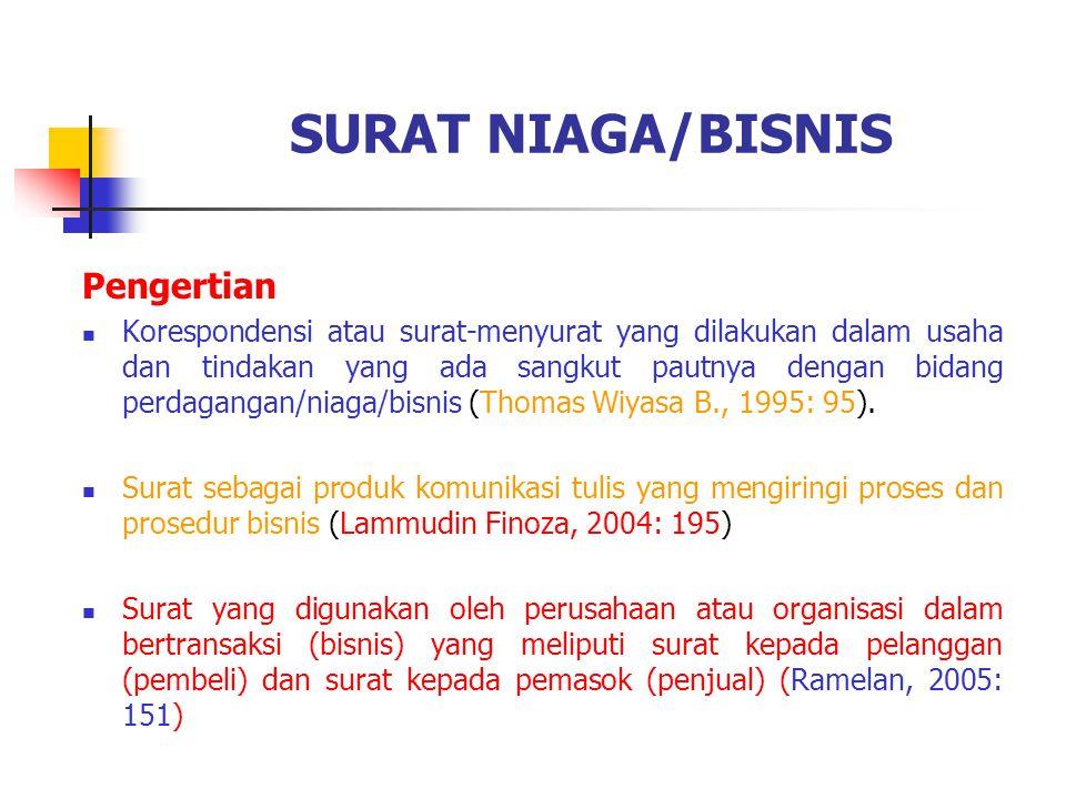 SURAT NIAGA/BISNIS Pengertian Korespondensi atau surat-menyurat yang dilakukan dalam usaha dan tindakan yang ada sangkut pautnya dengan bidang perdaga