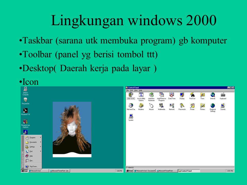 MS WINDOWS Elemen-elemen MS windows > Control menu box (terletak dipojok kiri atas) > title bar (Baris judul) > menu bar (pilihan) > sizing button(ter
