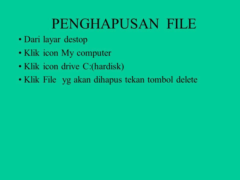 PENGHAPUSAN FOLDER Dari layar destop Klik icon My computer Klik icon drive C:(hardisk) Klik icon folder yg akan dihapus tekan tombol delete