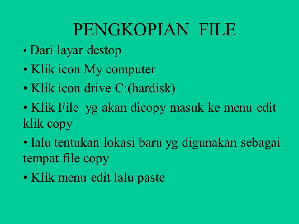 PENGHAPUSAN FILE Dari layar destop Klik icon My computer Klik icon drive C:(hardisk) Klik File yg akan dihapus tekan tombol delete