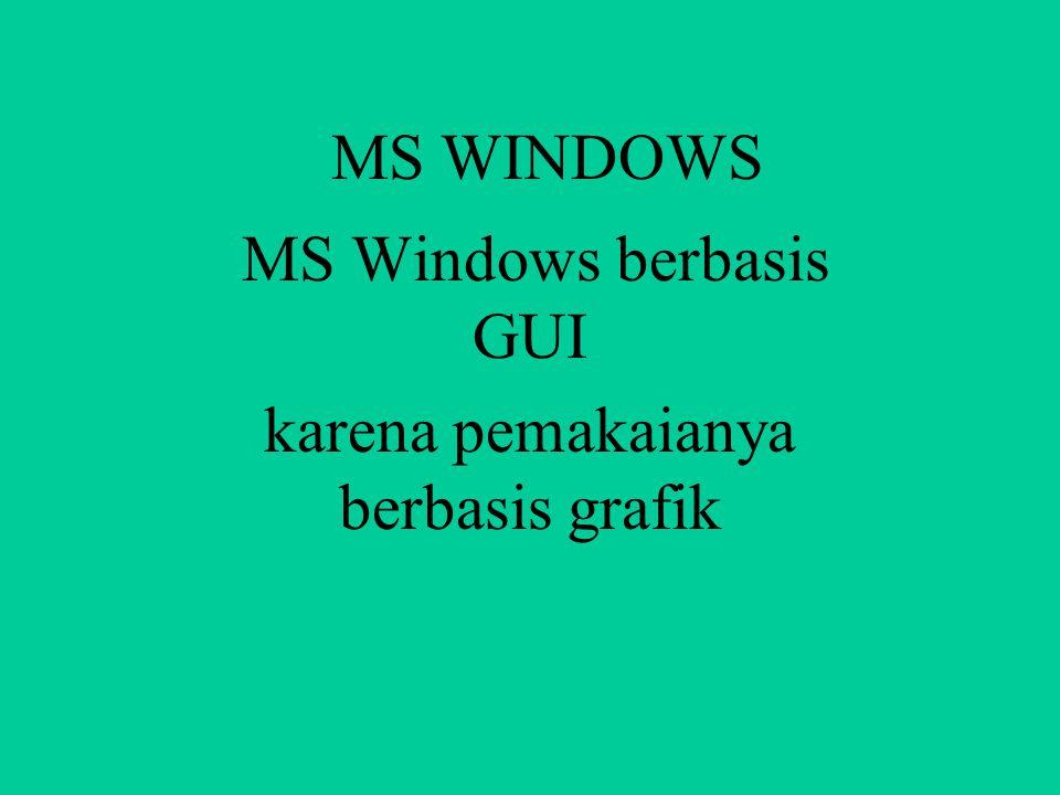 MS WINDOWS Microsoft Windows Merupakan Operating Sistem Artinya MS Windows mengatur aliran data dari alat input, alat proses, maupun alat output dari